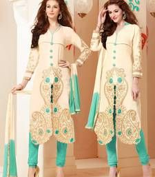 Buy cream cotton embroidered unstitched salwar with dupatta dress-material online