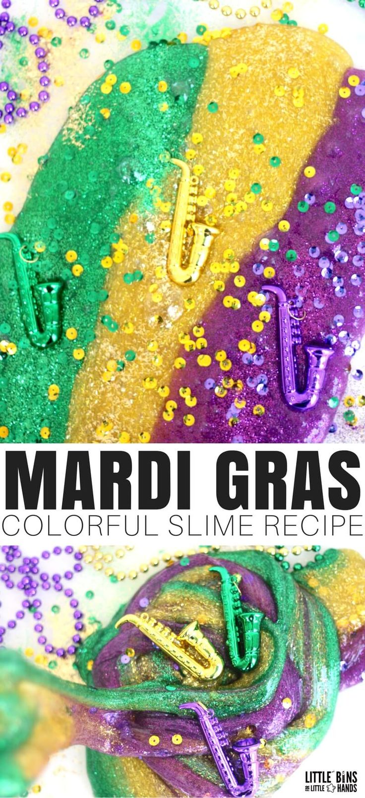 How To Make Mardi Gras Slime Recipe! Learn how to make colorful Mardi Gras slime with our easy to make slime recipes. Homemade slime recipes are a blast when you have the best ones! Making slime is easy and perfect to go with an holiday, season, or special occasion.