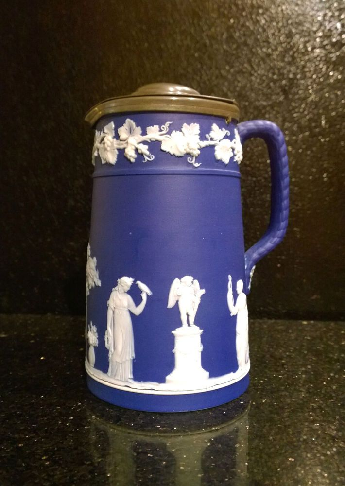 Wedgwood Dark Blue Earlier Pitcher With A Lead Lid Wedgewood Stolen Art Amp Antiques Selling On