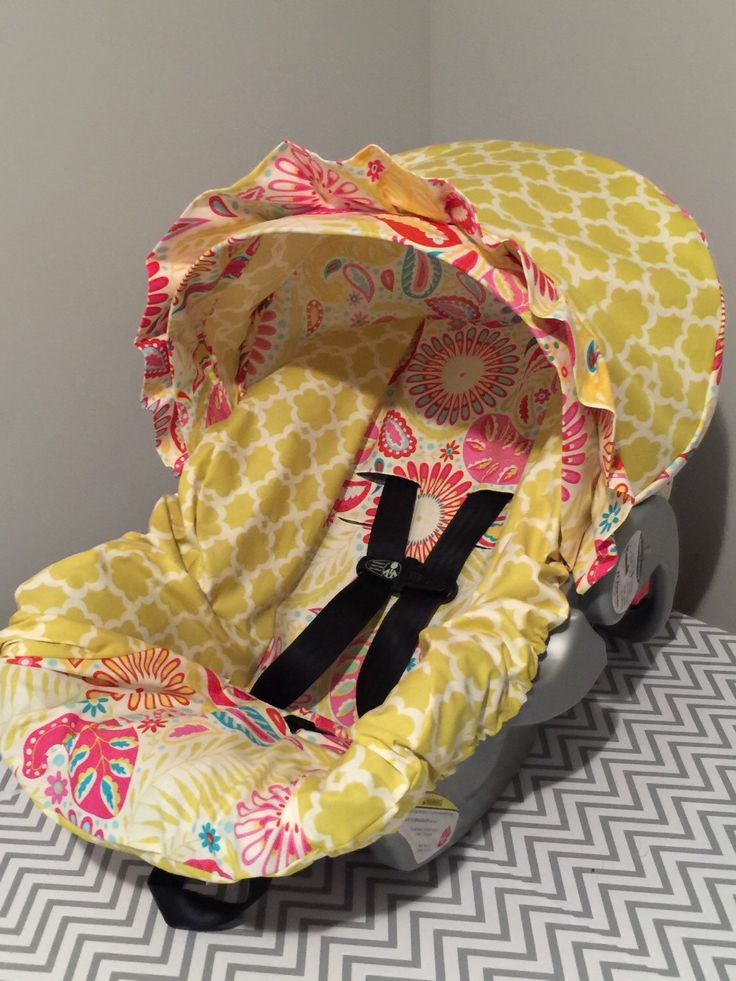 Mustard Yellow Kumari Gardens Fabric Infant Car Seat Cover READY To SHIP Sanjay Pink Tarika Moss