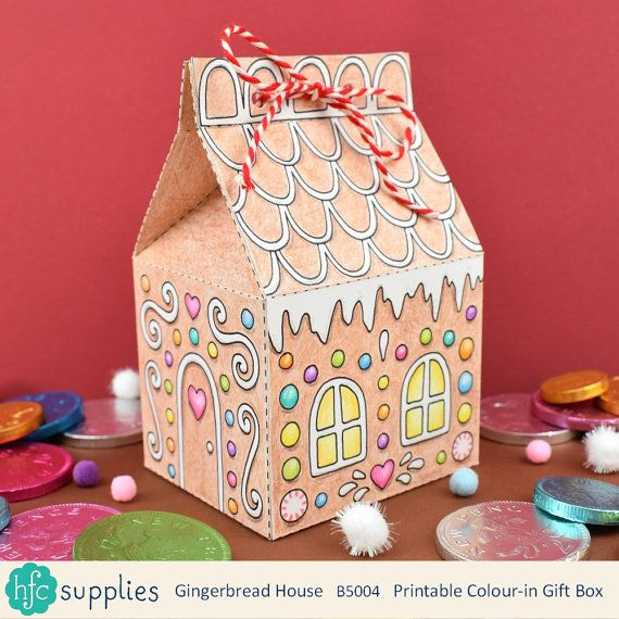 Printable Gingerbread House Box  - print, colour in and make your own gingerbread house boxes to give sweets / candy and other little gifts in, or use as a decoration at Christmas! by hfcSupplies Etsy Comes as 2 digital sheets for you to print, colour and make up (instructions are included). Christmas crafts.