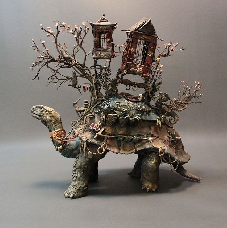 """Tortuga de carga / Tortoise of Burden"", técnica mixta / mixed media by Ellen Jewett http://elhurgador.blogspot.mx/2014/06/ellen-jewett-escultura.html"
