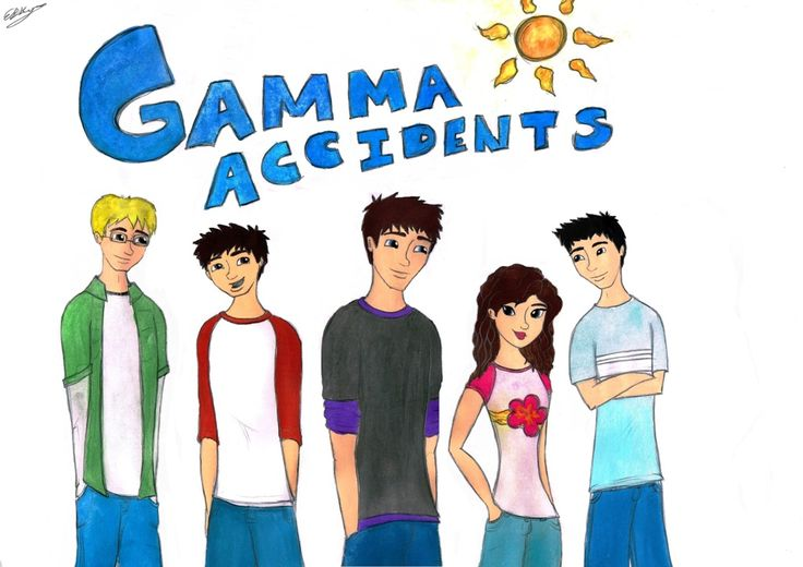 The Gamma Accidents. (Artist: Erin Sheena Byrne) Left to right: Ethan, Caleb, Jack, Bella and Ty.