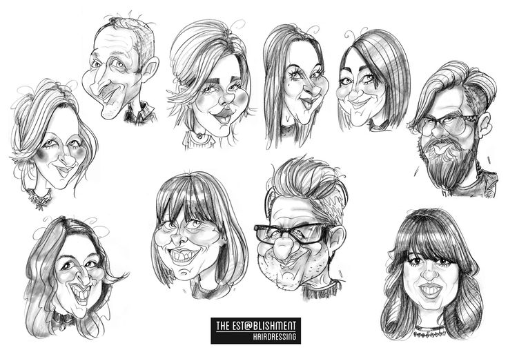 Group caricature from photos