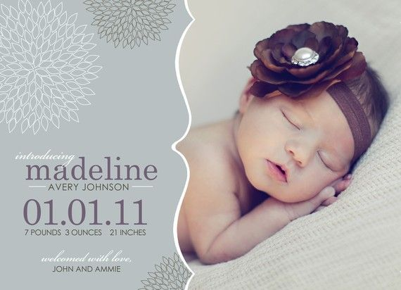 Cute Girl Birth Announcement