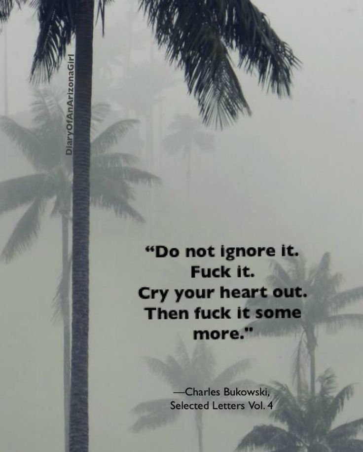 Do not ignore it. Fuck it. Cry your heart out. Then fuck it some more.  ~Charles Bukowski