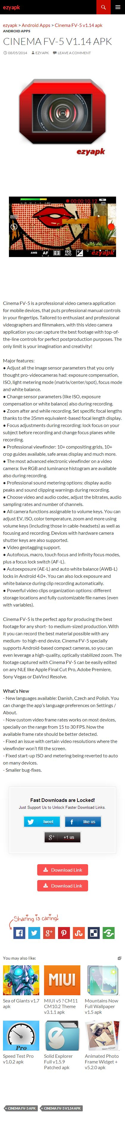 Android Apps Cinema FV-5 v1.14 apk - ezyapk Cinema FV-5 is a professional video camera application for mobile devices, that puts professional manual controls in your fingertips. Tailored to enthusiast http://www.ezyapk.com/android-apps/cinema-fv-5-v1-14-apk/