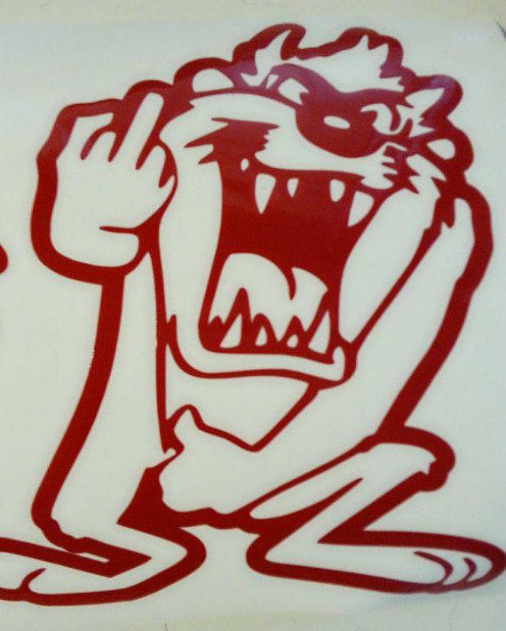 Taz Tazmanian Devil with middle finger Vinyl Decal Sticker