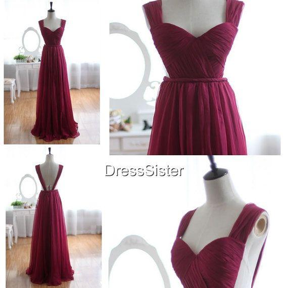 Long Open Back Plum Bridesmaid Dresses Long by DressSister, $119.99