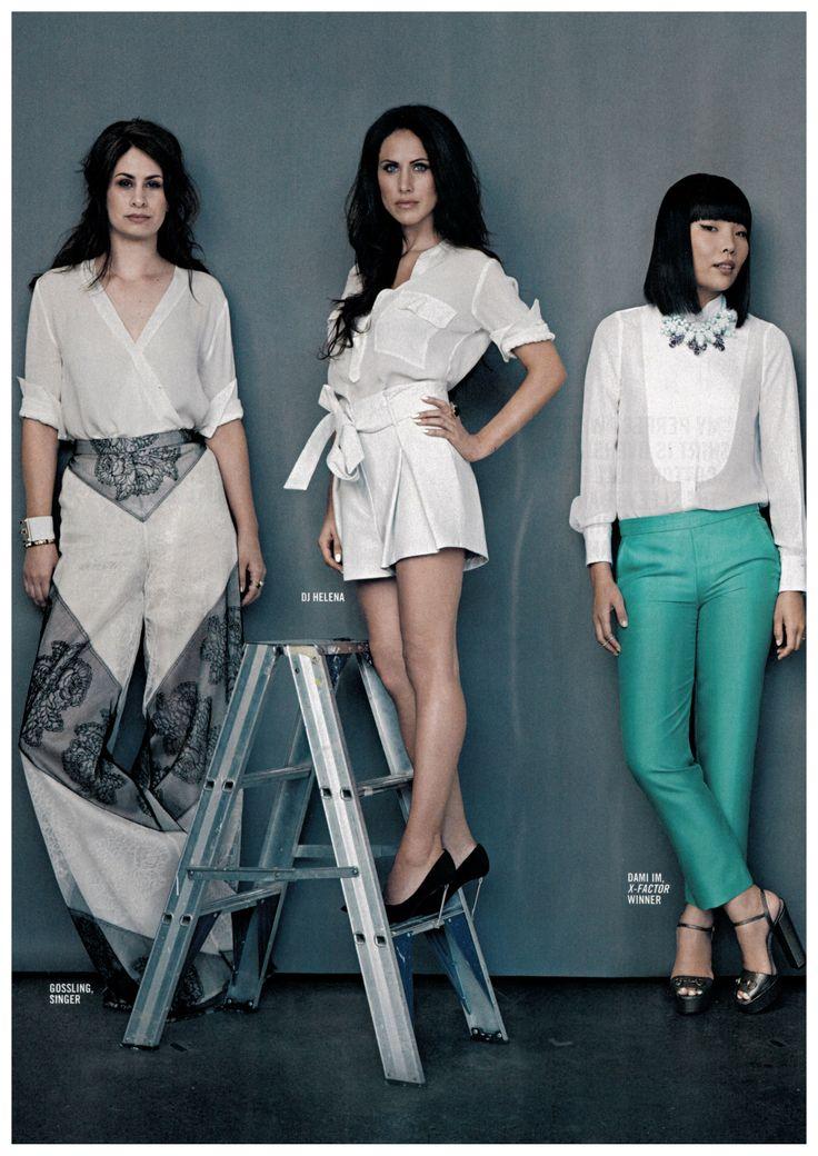 Singer Gossling and DJ Helena wearing OLE LYNGGAAARD COPENHAGEN in Sunday Style Magazine - The White Issue styled by Rachel Wayman.