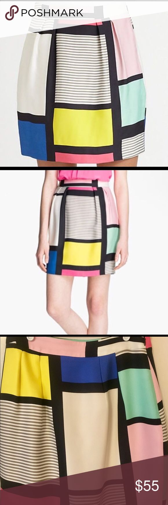 """Kate Spade Colorful Skirt Kate Spade New York, """"Skirt the Rules."""" This beautiful skirt is perfect for the office or a night out! It is fun and colorful with pinks, blues, yellows and greens. 100% polyester. Dry Clean Only. Kate Spade Skirts"""