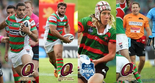 Red and Greens Turn Maroon and Blue for Origin I, 2012 - Rabbitohs Origin reps. Greg Inglis, Dave Taylor, Liam Coleman (NSW Under 16's) and Troy Thomson (QLD Trainer)