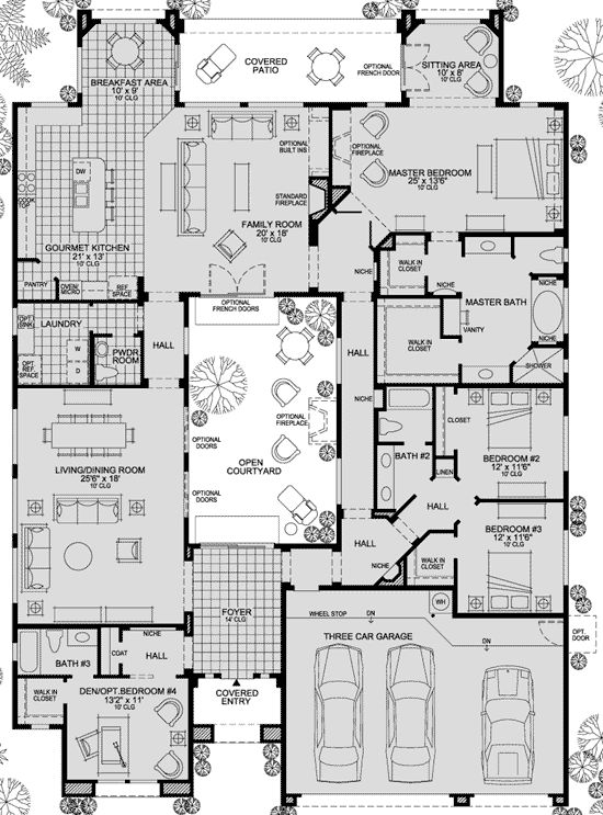 toll brothers savino    How about we take out that long hallway and set up Bedrooms 2 & 3 as a nice next gen suite? just got to add a few new doors and walls, and you get either a bigger courtyard, or a bigger master closet and NGS Bathroom/entry.