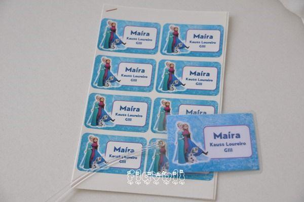Etiquetas e tag escolar - Frozen    :: flavoli.net - Papelaria Personalizada :: Contato: (21) 98-836-0113 - Também no WhatsApp! vendas@flavoli.net