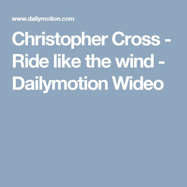 Christopher Cross - Ride like the wind - Dailymotion Wideo