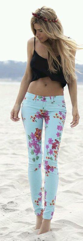 Floral Denim Jeans. Great jeans for summer.