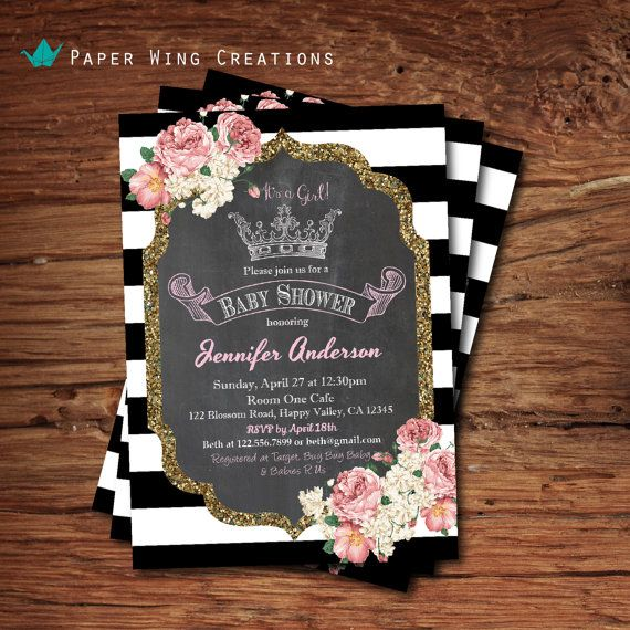 Princess baby girl shower invitation. French black and white stripe, royal princess crown, pink floral baby shower printable invite . B71 on Etsy, $15.00