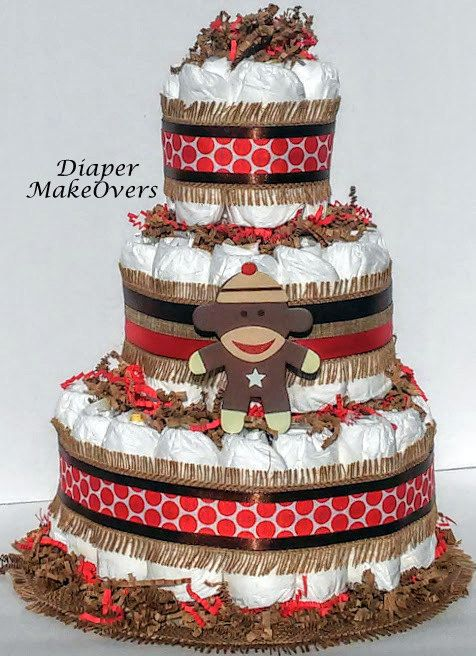 Diaper Cake - Baby Shower Centerpiece or Decoration - Sock Monkey Diaper Cake by DiaperMakeOvers on Etsy