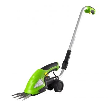 Cordless Handheld Grass Cutter Shears, Electric Hedge Shrubber Trimmer, Built-in 3.6V Battery, Telescoping Roller Handle Arm (Changeable Blades), Multicolor