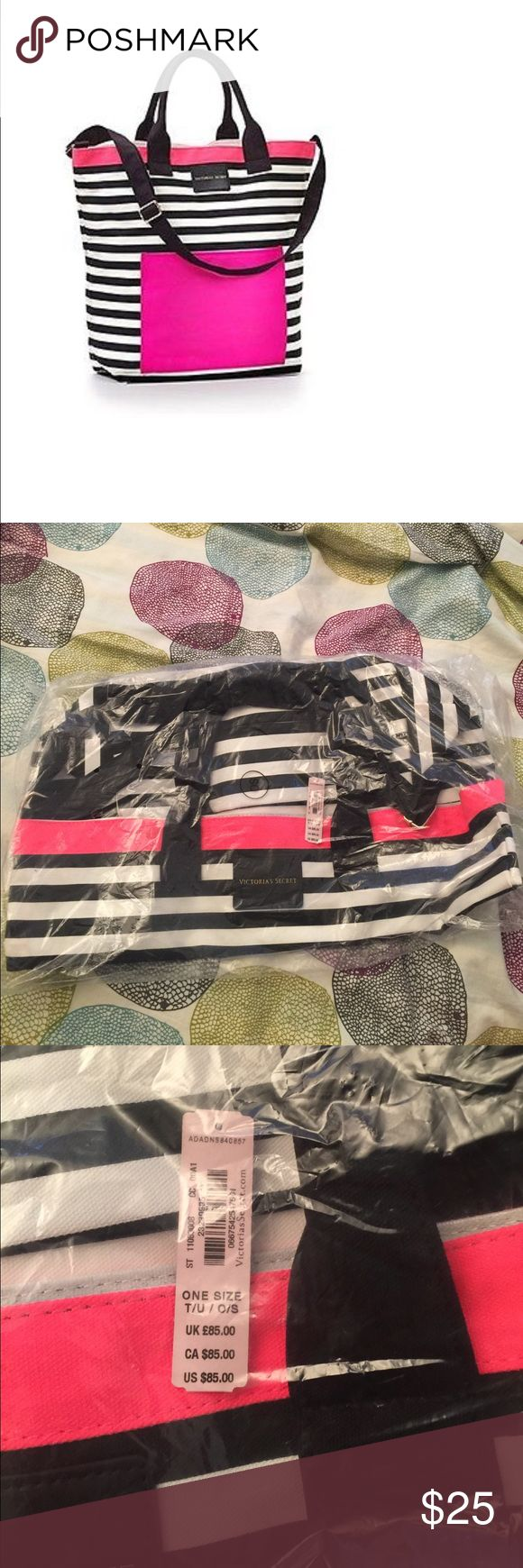 Victoria's Secret Striped Tote NWT Brand new with tags and in packaging Victoria's Secret striped tote!  This big tote is perfect for a trip to the beach since the inside has a water resistant coating! Bundle to save! Victoria's Secret Bags Totes