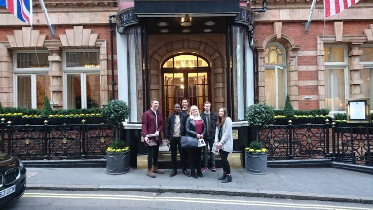 Outside the lovely Stafford Hotel, London. Fabulous hospitality.