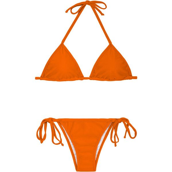 Rio De Sol Brazilian Bikini - King Cort Lacinho (£26) ❤ liked on Polyvore featuring swimwear, bikinis, orange, brazilian cut bikini, padded bikini tops, brazilian bikini, orange bikini top and swim top