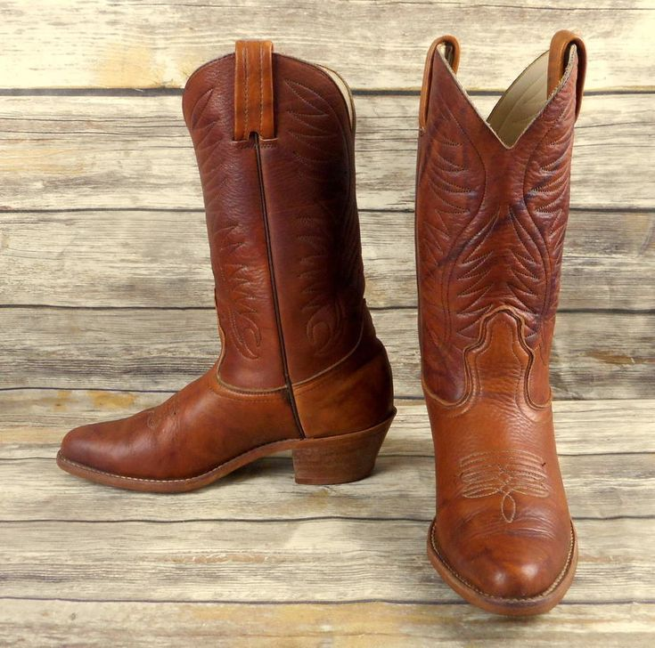 Dexter Cowboy Boots Brown Leather Mens Size 9 M Vintage Western Country  Shoes