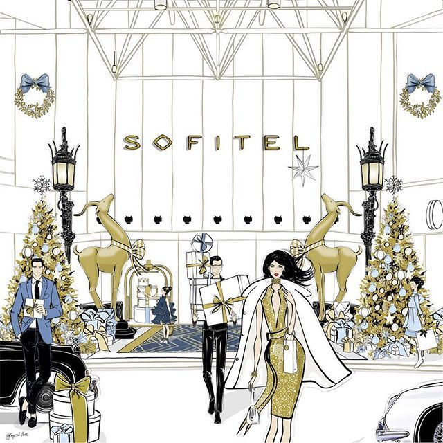 Merry Christmas Illustration for Sofitel Hotel Melbourne by Tiffany La Belle www.tiffanylabelle.com
