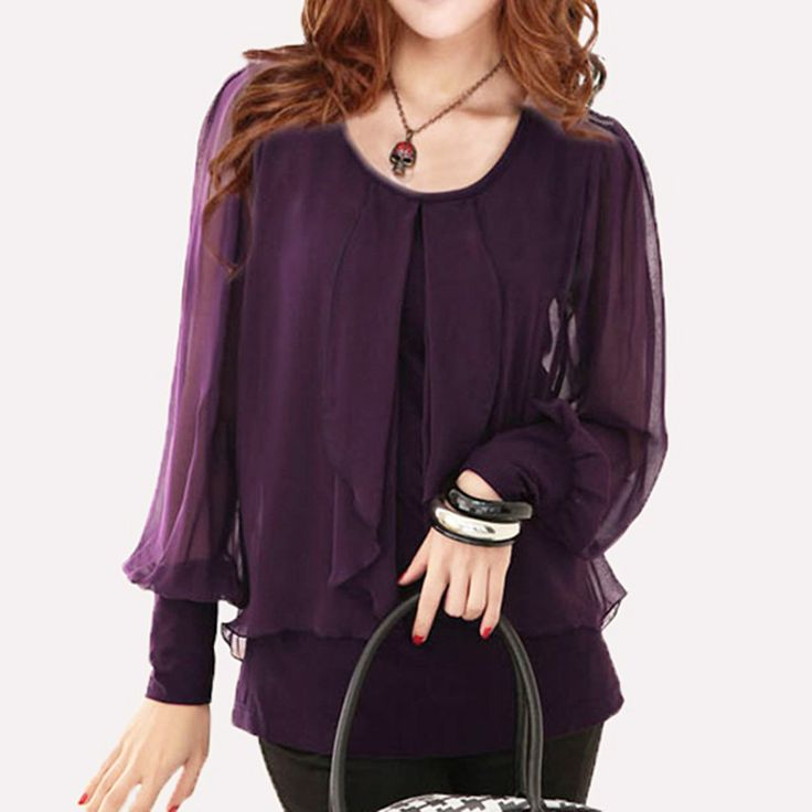 Women Black Shirt Blusas Plus Size Tops Purple Chiffon Shirt Female Long-Sleeve Chiffon Blouses Loose Solid Blusa Feminino