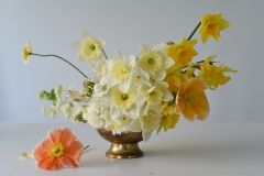 buttery yellow - pale yellow - milky white centrepiece with daffodils and poppies