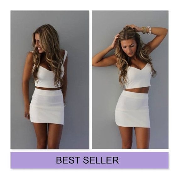 SUMMER SALE white 2 piece sweetheart crop top and by Batelboutique, €45.00
