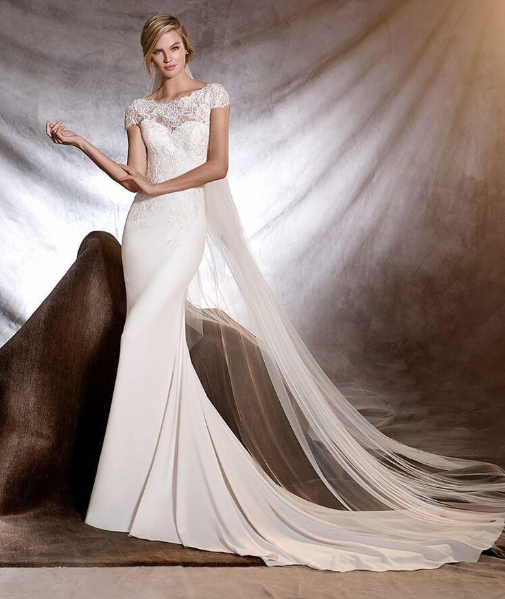 ONESI - Vestido de noiva de crepe estilo sereia e decote em barco