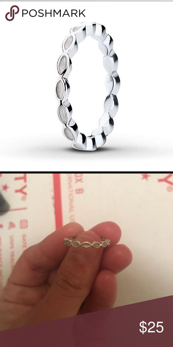White Enamel Pandora Ring Size 5 White Enamel Pandora Ring for Sale!!!! Size 5 only worn a handful of times! Pandora Jewelry Rings