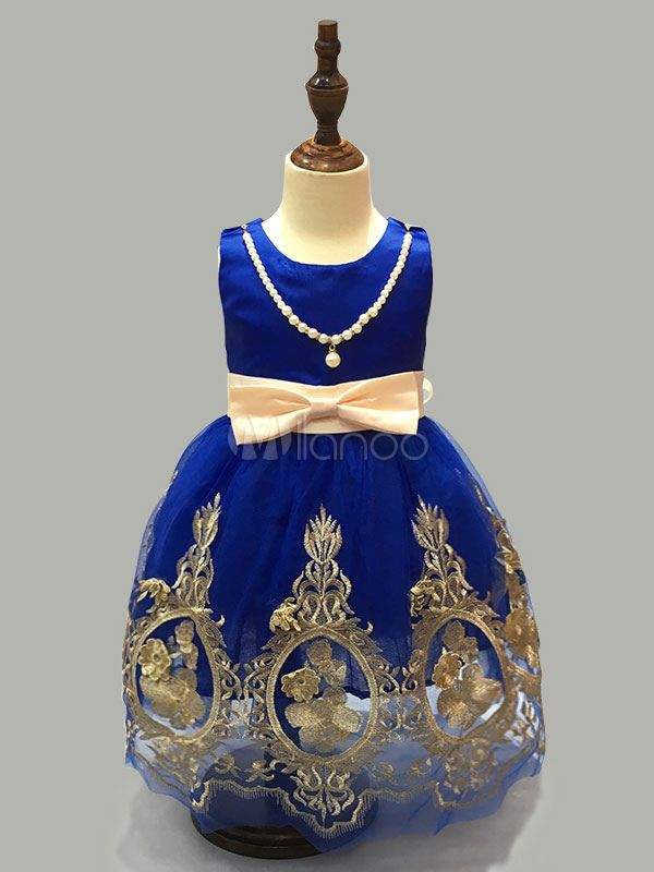 Blue Flower Girl Dresses Baroque Pearls Necklace Bow Tulle Toddler's Party Dresses - Milanoo.com
