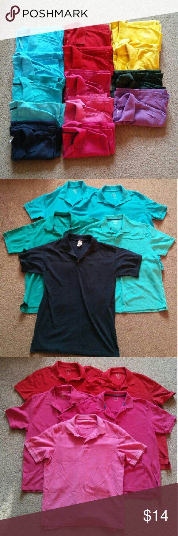 Polo Bundle - Bundle includes 14 Polos, all size large - 5 Blues (Gildan, St Johns Bay, NorthCrest)  - 2 red, 3 pink (St Johns Bay, Croft & Barrow) - 2 yellow, 1 green, 1 purple (St Johns Bay, Jerzees, Mossimo xl) - Entire bundle for $14  **PLEASE BE AWARE that I live in a RURAL area far from town & only go in 1-3 times per week, usually Tuesday & Friday. I will always send a message to my buyers letting you know when I will mail your package. Please be patient! St. John's Bay Tops Tees…