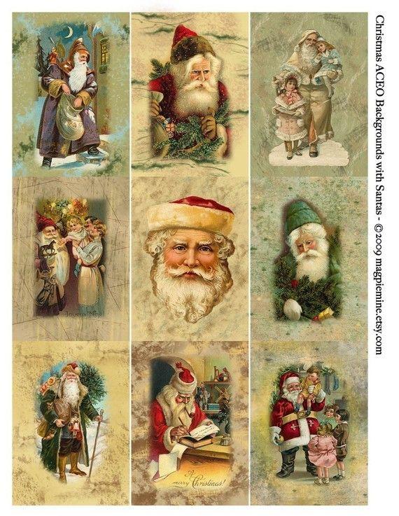 Negen 2.5 x 3.5 inch rechthoeken van Victoriaanse Santas. Gebruik voor kaarten en andere ambachten Kerstmis.  Dit is een 8,5 x 11 hoge resolutie (300 dots per inch, de optimale resolutie voor het afdrukken van heldere scherpe beelden) digitaal bestand. U kunt het afdrukken van het bestand zo vaak als u wilt en toewijzen aan uw ambacht/kunstprojecten die u kan verkopen kunt, maar niet distribueren of verkopen ofwel het digitale bestand of het gedrukte blad als is. Maak niet met enig gedeelte…