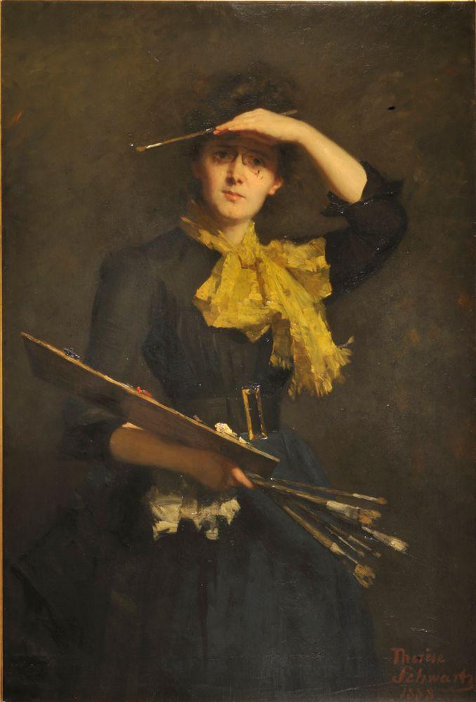 """Self-Portrait"" (1888) Thérèse Schwartze. Oil on canvas. Galleria degli Uffizi, Florence, Italy."