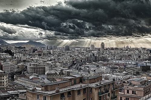 clouds on the city