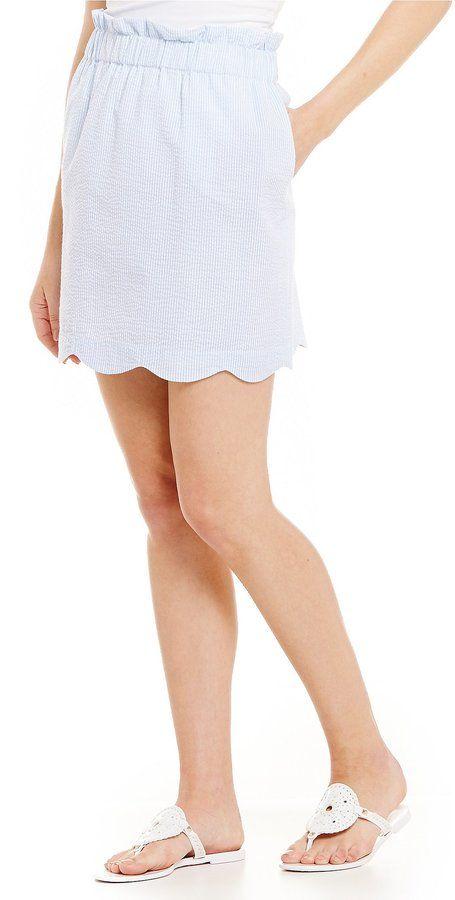 Lauren James Striped Scalloped Seersucker Skirt