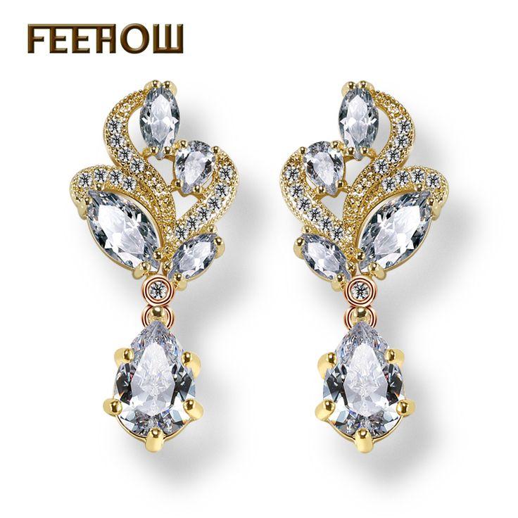 Feerow 3 اللون أزياء الزفاف مجوهرات ماركيز زهرة شنق الكمثرى الشكل aaa + زركون كريستال المرأة استرخى أقراط FWEP263