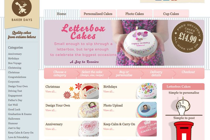 Website that lets you personalise a mini cake and then have it sent to your friends door.  Perfect for birthday's and new babies!: Birthday, Minis Cakes, New Baby, Mini Cakes
