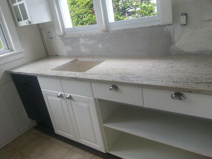 IKEA kitchen with River White granite countertops