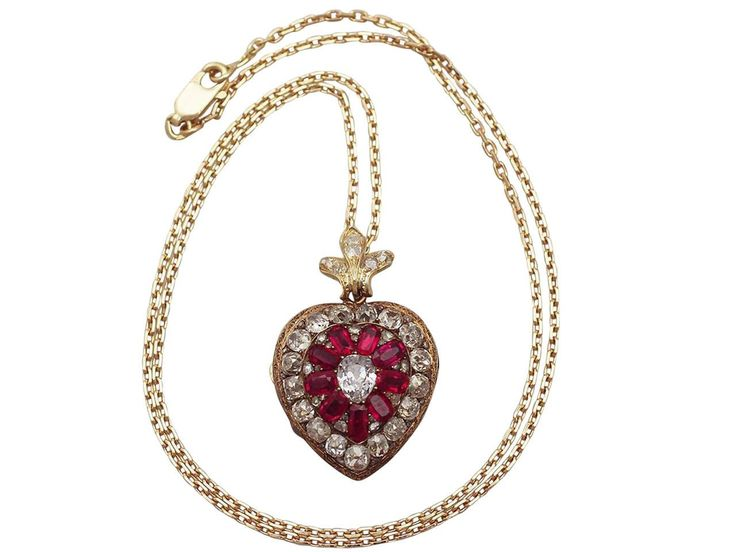 1880s Synthetic Ruby 4.55 Carats Diamonds Gold Pendant Locket | From a unique collection of vintage drop necklaces at https://www.1stdibs.com/jewelry/necklaces/drop-necklaces/