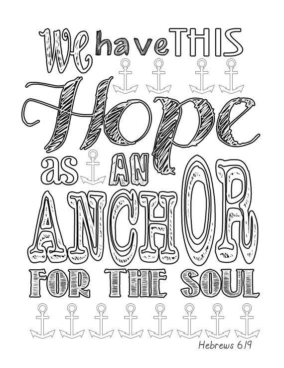Hebrews 619 Anchor Coloring Page