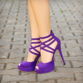 How about this shoe? Share to get a coupon for all on FSJ Purple Peep Toe Heels Suede Platform Strappy Sandals