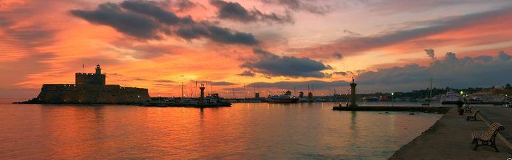 Rhodos. Sunrise. Panoramic 360 photo.