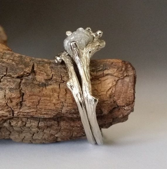 Twig Engagement Ring Raw Uncut White or by DawnVertreesJewelry