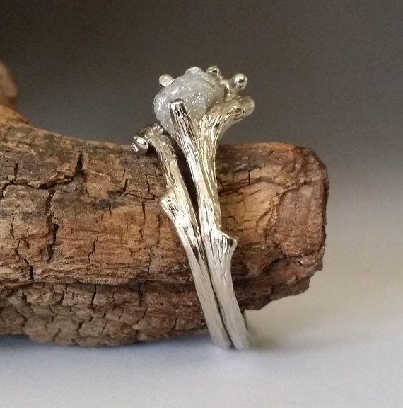 Twig Engagement Ring Raw Uncut Diamond от DawnVertreesJewelry