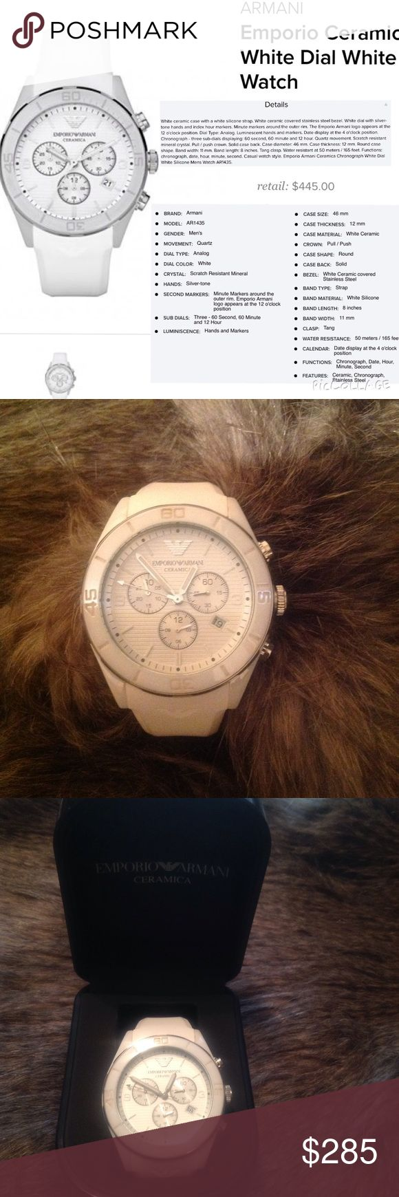 ❣Men's Watch❣Emporio Armani❣ ❣White ceramic case with a white silicone strap. ❣White ceramic covered stainless steel bezel.❣Like New❣(He doesn't like watches)❣ Emporio Armani Accessories Watches