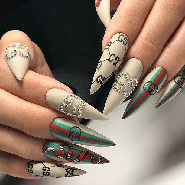 """TheGlitterNail  Get inspired! on Instagram: """"✨ REPOST - - • - - GUCCI  Nails - - • - -  Picture and Nail Design by @sheva_nails_krd  Follow her for more gorgeous nail art designs! …"""" • Instagram"""